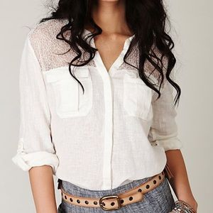 Free People Long Sleeve Ivory Linen Button Down